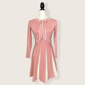 Preppy Women's Neck Tie Ribbon Fit + Flare Dress